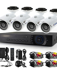 YanSe® 4CH 720P 1200TVL Wired CCTV Camera DVR Kit IR Waterproof Security Cameras System 1.0MP AHD