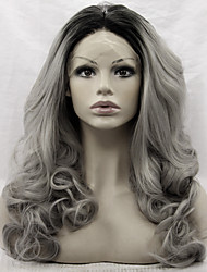 Black Root Heat Resistant Synthetic Lace Front Wig Loose Wave Hair Two Tone Ombre T1B/Grey Color Synthetic Hair Fiber Wigs For Fashion Woman