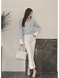 Femme Boot Cut Jeans Pantalon,simple Décontracté / Quotidien Couleur Pleine Taille Haute Bouton Coton Micro-élastique Sangle
