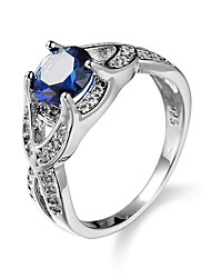 Brand Design Classic Royal Blue Round Zircon Copper Wedding Bands Platinum Plated Invisible Setting Ring for Women