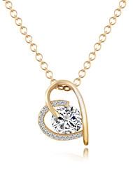 Necklace AAA Cubic Zirconia Pendant Necklaces Jewelry Daily Heart Heart Alloy Women 1pc Gift Gold Silver