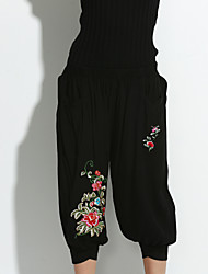 Women's Wide Leg Jeans Pants,Casual/Daily Simple / Chinoiserie Embroidered Cotton Stretchy Spring / Fall