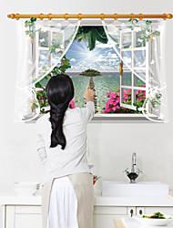 3D Island Landscape 3D Wall Stickers Fashion False Window Wall Decals Wall Art