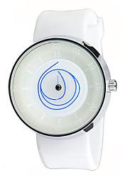 Unisex Fashion Watch Quartz Rubber Band Black White