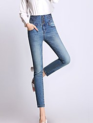 Women's Skinny Jeans Pants,Casual/Daily Work Simple Street chic Solid High Rise Zipper Button Cotton Inelastic Spring
