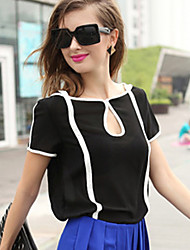 Women's Casual/Daily Simple Cute Spring Summer Blouse,Color Block Boat Neck Short Sleeve White Black Polyester Translucent Thin