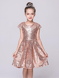 A-line Knee-length Flower Girl Dress - Sequined Jewel with Sequins