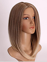 Women Short Ombre Color Straight Wave Synthetic Hair Wigs with Free Hair Net