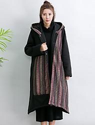 Damen Gestreift Einfach Ausgehen Lässig/Alltäglich Trench Coat,Herbst Winter Mit Kapuze Langarm Auf Links waschen Trocknen Standard