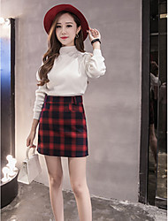 Women's A Line Check Skirts,Going out Mid Rise Mini Zipper Cotton / Polyester Micro-elastic All Seasons