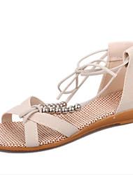 Damen-Sandalen-Kleid Lässig-Kunstleder-Flacher Absatz-Komfort-Schwarz Blau Beige Orange