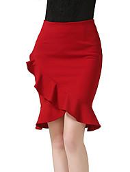 Damen Übergrössen Röcke,Bodycon einfarbig Rüsche,Ausgehen Lässig/Alltäglich Einfach Street Schick Hohe Hüfthöhe Über dem Knie Elastizität