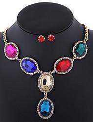 European antique jewelry oval gem necklace fashion temperament palace lady suit 0203# patina Pendant