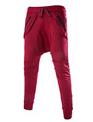 Hommes Ample Sarouel Chino Pantalon,simple Street Chic Décontracté / Quotidien Plage Vacances Couleur Pleine Taille Normale Cordon Coton