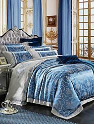 Floral Duvet Cover Sets 4 Piece Cotton Luxury Embroidery Cotton Queen 1pc Duvet Cover 2pcs Shams 1pc Flat Sheet