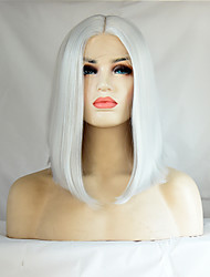 Heat Resistant Short Bob Synthetic Lace Front Wigs Straight Hair White Color Synthetic Fiber Hair Lace Bob Wig