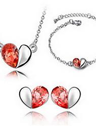 Schmuck 1 Halskette 1 Paar Ohrringe 1 Armreif Kristall Party Krystall 1 Set Damen Rot Blau Hochzeitsgeschenke