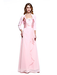 Sheath / Column Straps Floor Length Chiffon Mother of the Bride Dress with Beading Side Draping