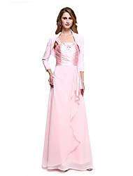 Fourreau / Colonne Robe de Mère de Mariée - Robe Convertible Longueur Sol Sans Manches Mousseline de soie - Billes Pan drapé