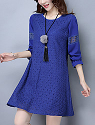 Women's Plus Size Going out Street chic Loose Lace Dress Patchwork Cut Out Round Neck Above Knee Polyester /Spandex Blue /Yellow /Black Spring