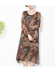 Women's Going out Casual/Daily Holiday Simple Street chic Loose Chiffon Dress,Floral Print Round Neck Above Knee Long Sleeve Polyester