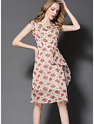 Women's Going out Casual/Daily Holiday Vintage Street chic Sophisticated Sheath Swing Dress,Floral Patchwork Ruffle Mesh Round Neck