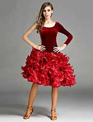 Ballroom Dance Dresses Women's Performance Tulle Velvet Ruffles 1 Piece Natural Dress