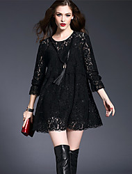 Women's Party Sexy Street chic Fashion Loose Lace Dress Solid High Waist Long Sleeve Above Knee Black Nylon/Spandex Spring /Summer