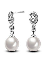 2017 Fashion 925 Sterling Silver White Pearl Cubic Zircon Stud Earrings Wedding Jewelry For Women