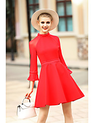 BLUEOXY Women's Going out Casual/Daily Holiday Simple A Line Dress,Solid Round Neck Knee-length ¾ Sleeve Cotton Polyester Red Black Spring Summer