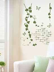 Modernism Green Rattan With Butterfly Wall Stickers Fashion Living Room Wall Decals Home And Garden