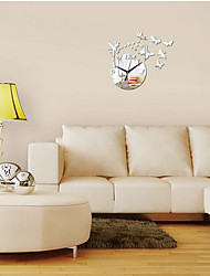 Fashion Silver Fairy Butterflies Mirror Acrylic Wall Clock DIY Modern Wall Sticker Home Decoration