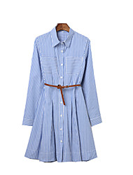 Women's Fine Stripe Going out Casual/Daily Work Sexy Street chic Sophisticated A Line Dress,Striped Shirt Collar Above Knee Long Sleeve Others Blue