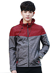 Men's Casual/Daily Simple Jacket,Solid Hooded Long Sleeve Spring Dry flat Polyester Regular