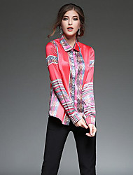Women's Casual/Daily Sexy Spring Shirt,Print Square Neck Long Sleeve Multi-color Rayon Medium