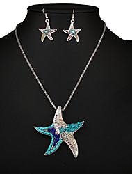 European and American fashion big ocean series jewelry pendant individuality Starfish Pendant Necklace Earrings Set 0185#