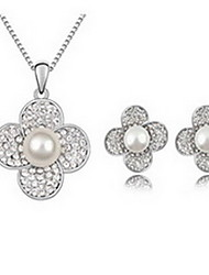 Jewelry 1 Necklace 1 Pair of Earrings Pearl Party Alloy 1set Gold White Gray Wedding Gifts