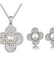 Бижутерия 1 ожерелье 1 пара сережек Жемчуг Для вечеринок Сплав 1 комплект Золотой Белый серый Свадебные подарки