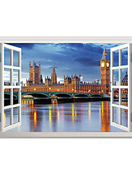 3D Wall Stickers Wall Decals Style British Clock Storied House PVC Wall Stickers