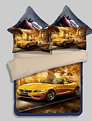 Novelty Duvet Cover Sets 4 Piece Polyester 3D Reactive Print Polyester Queen 1pc Duvet Cover 2pcs Shams 1pc Flat Sheet