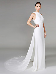 Sheath / Column High Neck Chapel Train Chiffon Wedding Dress with Beading Draped Flower by LAN TING BRIDE®