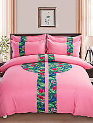 Novelty Duvet Cover Sets 4 Piece Polyester Pattern Reactive Print Polyester Queen 1pc Duvet Cover 2pcs Shams 1pc Flat Sheet
