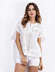 Tee-shirt Femme,Jacquard Décontracté / Quotidien Chic de Rue Eté Manches Courtes Col en V Blanc Polyester Translucide