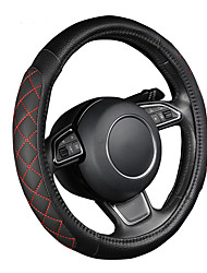 AUTOYOUTH PU leather car steering wheel cover black lychee pattern with two-sides thick foam padding M size fits 38cm/15