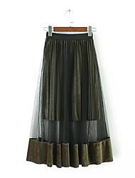 Damen Röcke,A-Linie MusterAusgehen Lässig/Alltäglich Urlaub Vintage Einfach Niedlich Mittlere Hüfthöhe Maxi ElastizitätKunstseide