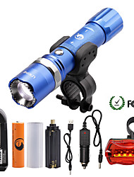 U'King ZQ-940BL#1-US XML-T6 2000LM 5Mode Flashlight Torch Kit with Attack Head Self-defense Function and Bike Safty Light