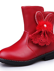 Girl's Boots Winter Flower Girl Shoes PU Casual Flat Heel Bowknot Black Pink Red Walking