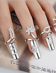 Women's Statement Rings Nail Finger Rings Unique Design Fashion Costume Jewelry Personalized Handmade Silver Plated Flower Jewelry Jewelry