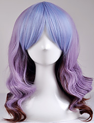 Europe and the United States fashion long section of large waves mixed purple in the high temperature wire wig