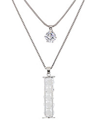 Women's Pendant Necklaces Rhinestone Alloy Round Double-layer Fashion Silver Jewelry Party Daily 1pc